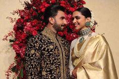 Deepika Padukone And Ranveer Singh Look Every Bit Royal As They Kickstart Their Wedding Reception - HungryBoo Deepika Ranveer, Ranveer Singh, Deepika Padukone, Kareena Kapoor, Wedding Looks, Wedding Pics, Wedding Reception, Reception Ideas, Wedding Bride