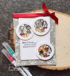 Best Friends Dog card by Jennifer Timko | Woof Pack Stamp Set and Pawprints Stencil by Newton's Nook Designs #newtonsnook