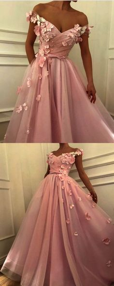 Pretty pink tulle long prom dresses Unique v-neck off the shoulder evening gowns. - Pretty pink tulle long prom dresses Unique v-neck off the shoulder evening gowns with flowers beaded Cheap evening dress # - Unique Prom Dresses, Cheap Evening Dresses, Pretty Dresses, Homecoming Dresses, Vintage Dresses, Beautiful Dresses, Prom Dresses Flowers, Dress With Flowers, Winter Dresses