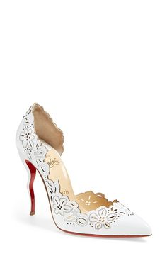 Unique and fun! Christian Louboutin 'Beloved' Laser Cut Half d'Orsay Pump found at Nordstrom.