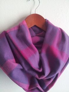 Purple and Pink Plaid  Flannel Infinity Scarf by ScarvesBuySharon