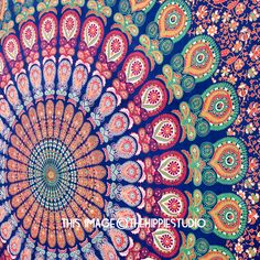 This is a screen printed tapestry, completely handmade. This can be used as a tapestry, bedspread, bade cover, table cloth, beach sheet or even