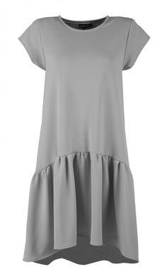 sukienki-Szara sukienka z falbaną