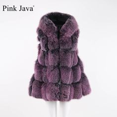 Pink Java QC8094 FREE SHIPPING 2017 new natural fox fur long vest real fox fur gilet with hood winter high quality women fox #Affiliate