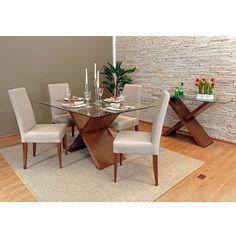 Conjunto para Sala de Jantar com Mesa Retangular, 4 Cadeiras e Aparador, Padrão Amêndoa, Cléo - toqueacampainha