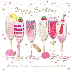 GBP - Happy Birthday Prosecco Handmade Embellished Greeting Card By Talking Pictures C & Garden Birthday Greetings For Dad, Happy Birthday Wishes Cards, Happy Birthday Friend, Birthday Blessings, Happy Birthday Pictures, Happy Birthday Quotes, Happy Pictures, Card Birthday, Birthday Woman
