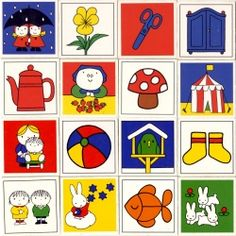 """Got these - need to put in a frame for Chelseas Room. Dick Bruna Memory Game cards from Blast of colour and beautiful illustrations - even Miffy makes an appearance. I had these as a """"memory"""" game :) Simple Illustration, Children's Book Illustration, Miffy, Memory Games, Dutch Artists, Illustrations And Posters, Book Cover Design, Colouring Pages, Card Games"""