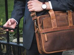 Mens Citylander Leather Laptop Briefcase