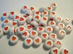 50 Acrylic Love Heart Beads - 7mm