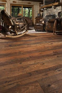 Our Carolina Craftsman© surface style — freshly circle-sawn patterns created in antique reclaimed wood by modern craftsmen. Here, antique heart pine flooring Heart Pine Flooring, Pine Floors, Plank Flooring, Flooring Ideas, Diy Flooring, Stairs Trim, Wood Stairs, Reclaimed Wood Floors, Barn Wood