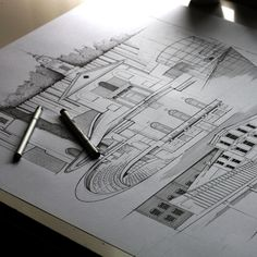 KH Paint Photography, Architectural Sketches, Awesome Art, Cool Art, Painting On Wood, Wall Murals, Croquis, Illustrator, Wallpaper Murals