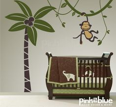 Wall Decals - monkey  decal - nursery - jungle decals - kids room - vinyl wall art. $88.00, via Etsy.