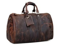Leather Family — Handmade Crazy Horse Leather Dark Brown Large Luggage Travel Bag Duffle Bag Adjustable Strap