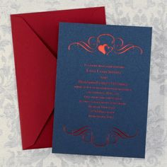 Red White and Blue Wedding Ideas - Enthroned - Invitation - Navy Shimmer | Occasions In Print, LLC (Invitation Link - http://occasionsinprint.carlsoncraft.com/Weddings/Invitations/WA-WA30934FLNAV-Enthroned--Invitation--Navy-Shimmer.pro)