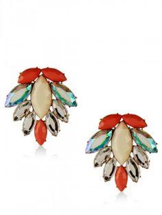 KOOVS Flower Stone Stud Earrings buy from koovs.com Earrings Online, Brooch, Stud Earrings, Stone, Flowers, Jewelry, Rock, Jewlery, Jewerly