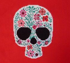 Make with black background. Red Flowers Sugar Skull Cross Stitch Pattern by HanksPatternPlace