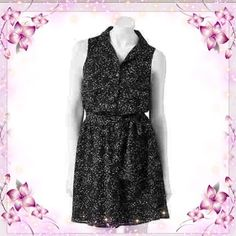 "Confetti print dress Black chiffon dress with white, red and pink confetti. Button front style with pocket. Matching material belt that ties at waist. Fully lined, 100% polyester. Measures approximately 25"" from underarm to hem. ELLE Dresses"