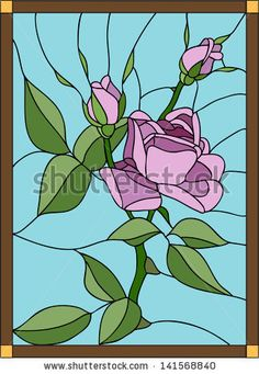 Vector composition with the queen of flowers rose / stained glass window, door and ceiling