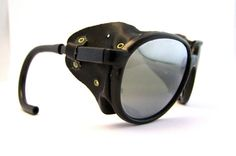 Vintage Mirrored Steam punk  Ski Sunglasses ,SWEET With Leather sides.
