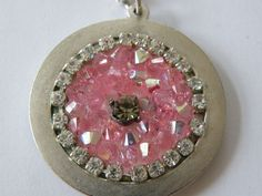 Silver Necklace with Circle Pendant with Pink Gems by Marleyart, $28.00