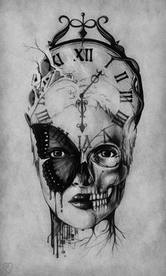 The Undead – skull tattoo sleeve Clock Tattoo Design, Tattoo Design Drawings, Tattoo Sleeve Designs, Tattoo Sketches, Sleeve Tattoos, Skull Drawings, Art Sketches, Skull Girl Tattoo, Skull Tattoos