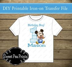 22 best mickey mouse 1st birthday party ideas images mickey mouse10% off sale printable baby mickey mouse 1st birthday iron on transfer girl custom colors