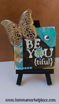 "Mini Canvas with Easel ""Be-YOU-tiful"" - Mixed Media Art MKM004"