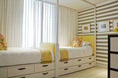 Stripes...beigy grey and pale mustardy yellow mixed with off-white.  Always chic.  Never out of style.