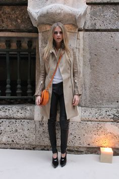 classic.  love the color that the orange cross-body bag brings to the neutral palette.