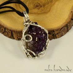 Druzy Amethyst Crystal Cluster Necklace 925 Sterling Silver Wire Wrapped #MBAHandmade #Wrap