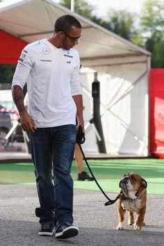Lewis Hamilton with Roscoe - 2013 Spanish GP