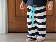 Easiest Baby Pants to Sew, Ever. - The Sewing Rabbit. These would be cute for Christmas jammies. #diy #crafts