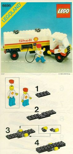 LEGO 6695 Tanker Truck instructions displayed page by page to help you build this amazing LEGO City set Old Lego Sets, Lego City Sets, Lego Wheels, Classic Lego, Lego Kits, Lego Truck, Lego Activities, Shell, Lego Robot