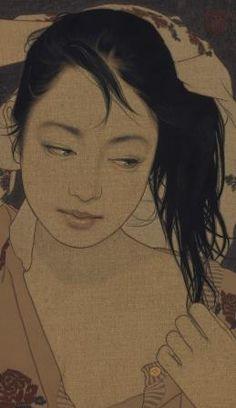 Ikenaga Yasunari「木綿と濡れ髪・樹子」 Art Painting, Asian Art, Japanese Artists, Painting Style, Japanese Illustration, Illustration Art, Art, Figurative Art, Eastern Art
