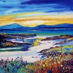 Jean Feeney,Golden Evening, Eoligary, Isle of Barra. Image Size19.5x19.5 inches l Contemporary Scottish Art
