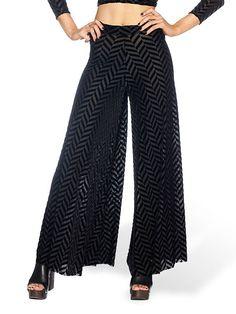 Burned Velvet Herringbone Volume Pants - LIMITED (AU $120AUD / US $85USD) by Black Milk Clothing