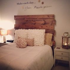 This bedroom has such a rustic charm. Beautiful design by @Rachel Morgans. #fanfinds  #wood #rustic