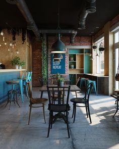 """Popatrz na ten projekt w @Behance: """"Cafe in industrial style"""" https://www.behance.net/gallery/37082347/Cafe-in-industrial-style"""