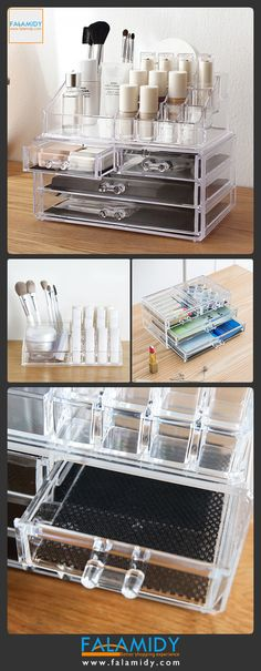 Organize your cosmetics with this big size luxury makup organizer wit drawer.