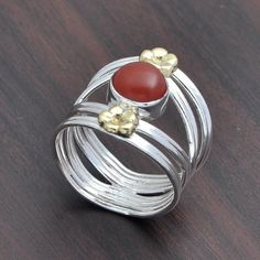 925 SOLID STERLING SILVER AMAZING RED ONYX LATEST RING 4.82g DJR3653 #Handmade #Ring
