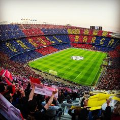 Camp Nou- Home of FC Barcelona. Opened in it is the largest stadium in Spain. Fun Fact: Camp Nou can seat up to 354 individuals. Camp Nou Barcelona, Barcelona Futbol Club, Fc Barcelona, Barcelona Soccer, Barcelona Football Stadium, Club Football, Football Stadiums, Football Soccer, Cr7 Messi