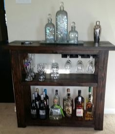 Captivating Rustic Solid Wood Expandable Wine Bar Cabinet W Bottle Glass Holder |  Rustic Wood, Glass Bottles And Bottle