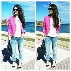 Mi ootd para ir a comer. Boyfriend jeans + blazer fucsia.  #ootd #Ootd #outfit #moda #fashion  #youtuber #youtubechannel #youtubevlogger #inspiracion #inspiration #boyfriendjeans h #blazer #fucsia #pink