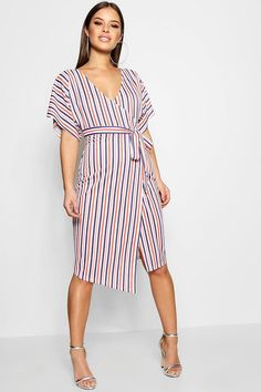 3758f645da43e Petite Hayley Crepe Stripe Wrap Midi Dress Fashion Wear, Women's Fashion  Dresses, Boohoo Petite