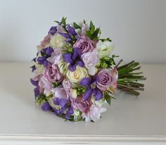 Violet Wedding Bouquet | Bouquet in purple,ivory,mauve-pink and pale green using roses ...