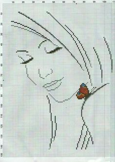 Lady III with Butterfly 2 of 3 Butterfly Cross Stitch, Cross Stitch Baby, Cross Stitch Alphabet, Cross Stitch Kits, Cross Stitch Designs, Cross Stitch Patterns, Cross Stitching, Cross Stitch Embroidery, Embroidery Patterns