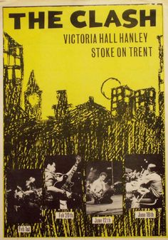 The Clash, promo poster for a series of shows at Victoria Hall, Punk Rock, Tour Posters, Music Posters, British Punk, Mick Jones, Framed Records, Punk Poster, Rock Band Posters, Vintage Concert Posters