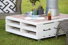 ¡Qué preciosidad de mesa que puedes hacer con tan solo dos palets que puedes pintar del color que quieras, cuatro ruedas y unas maderas laminadas! Mira el paso a paso en estas imágenes: Como puedes…