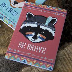 https://www.sassandbelle.co.uk/Be Brave Raccoon Tribal Adventure A5 Notebook