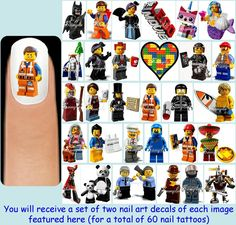 60x THE LEGO MOVIE Inspired Nail Art Decals by FlutterbyDream, $7.50